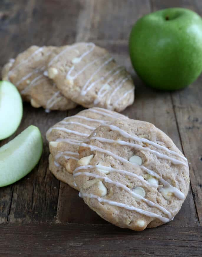 These gluten free apple pie cookies are a simple drop cookie with all the taste of apple pie, plus a little extra sweetness from white chocolate chips.