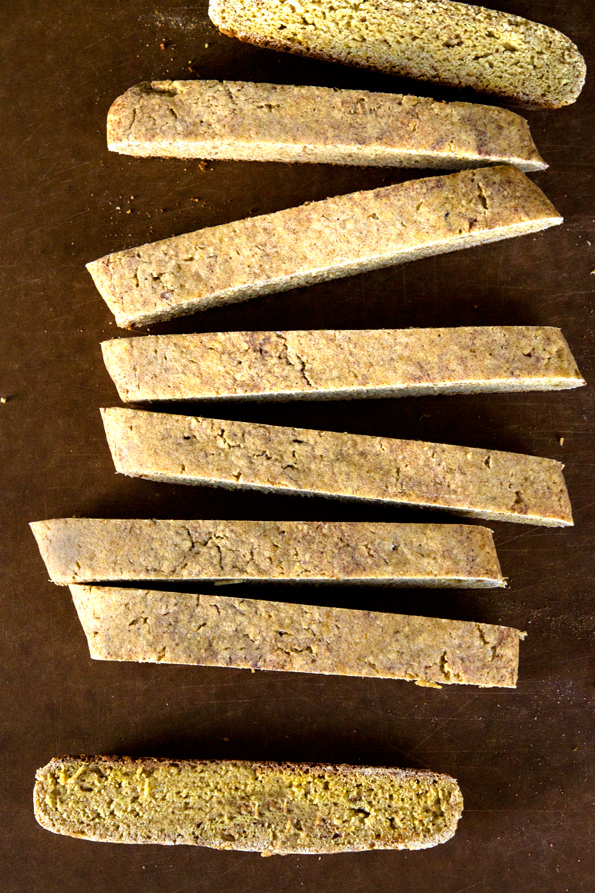 Overhead view of pumpkin biscotti on brown surface