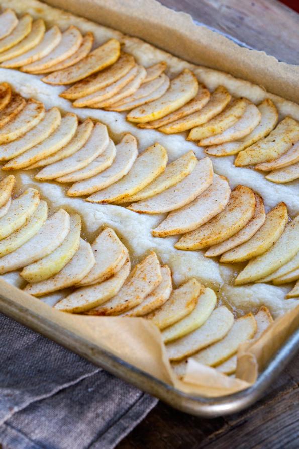 A close up of raw Caramel Apple Shortbread Squares