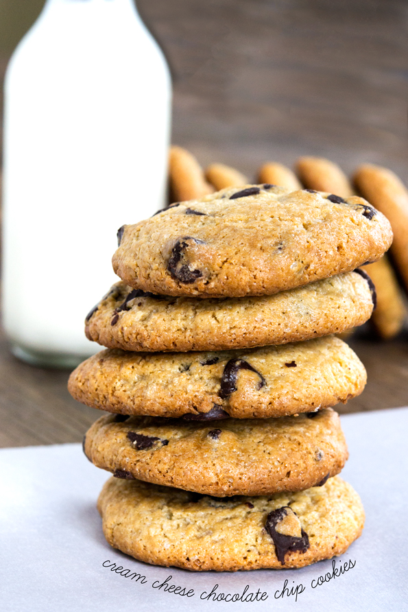 A stack of Cream Cheese Chocolate Chip Cookies on white surface