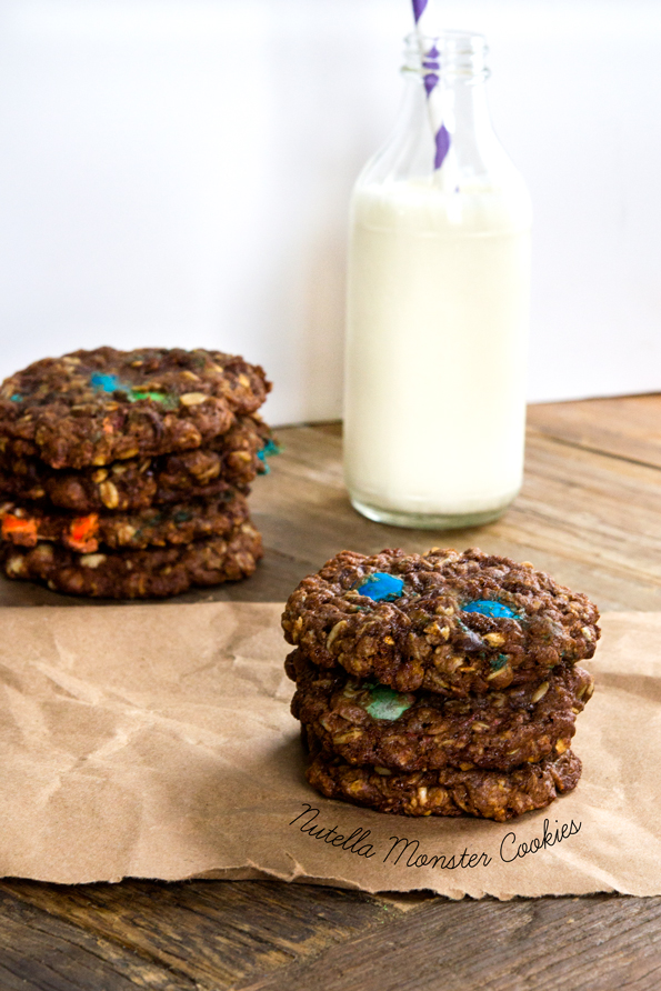 Gluten Free Nutella Monster Cookies