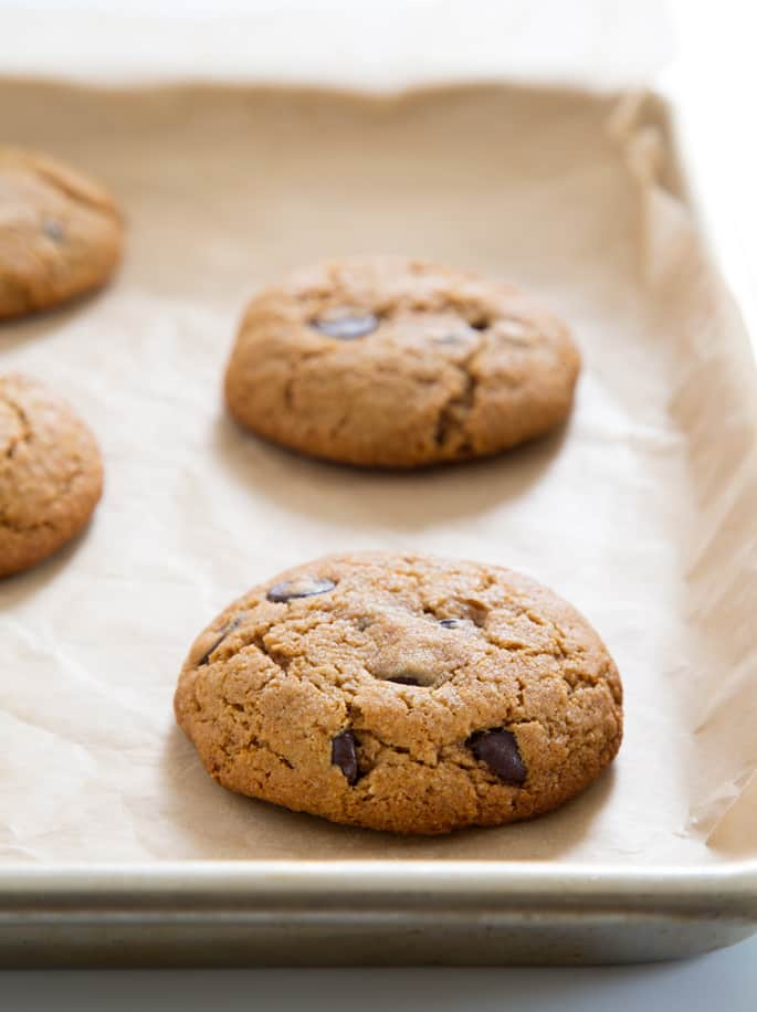 Paleo chocolate chip cookies baked on a tray