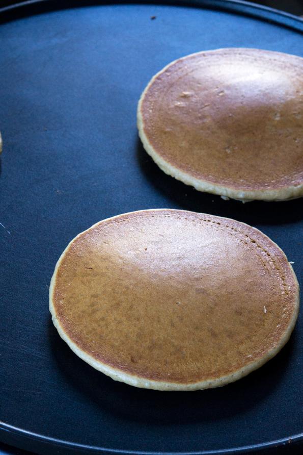 Pancakes on black surface