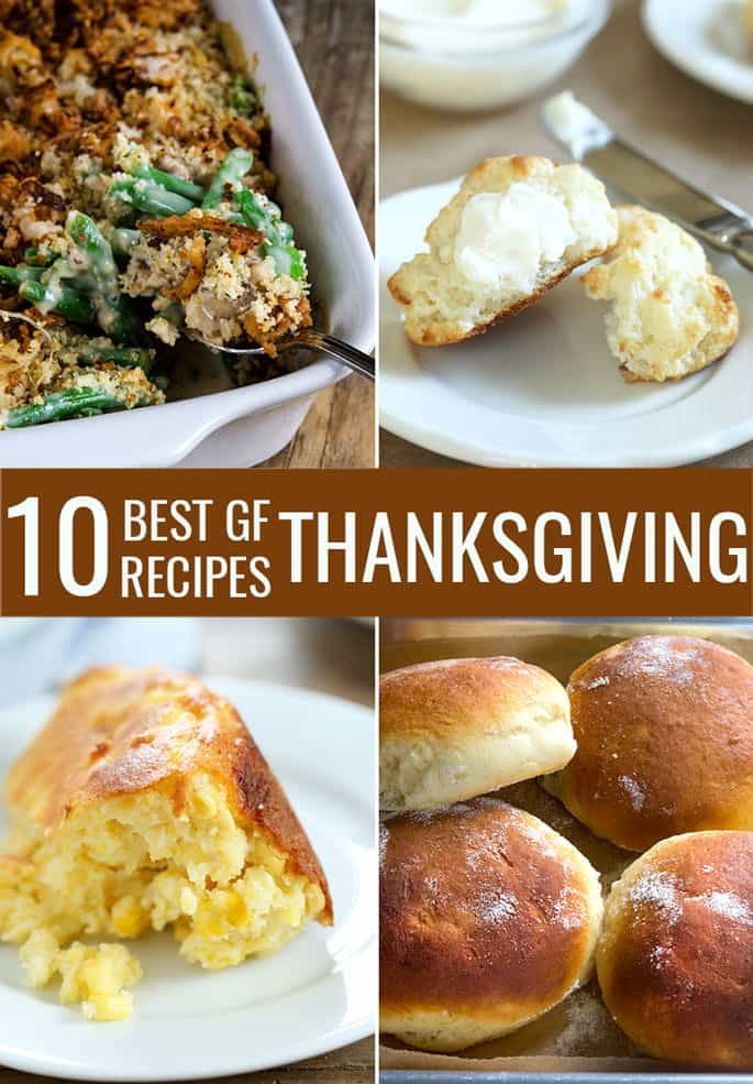 The 10 best gluten free Thanksgiving recipes I know are right here. Everything from mashed potatoes and gravy, green bean casserole and spoon bread to cranberry bread, dinner rolls and Dutch apple pie.