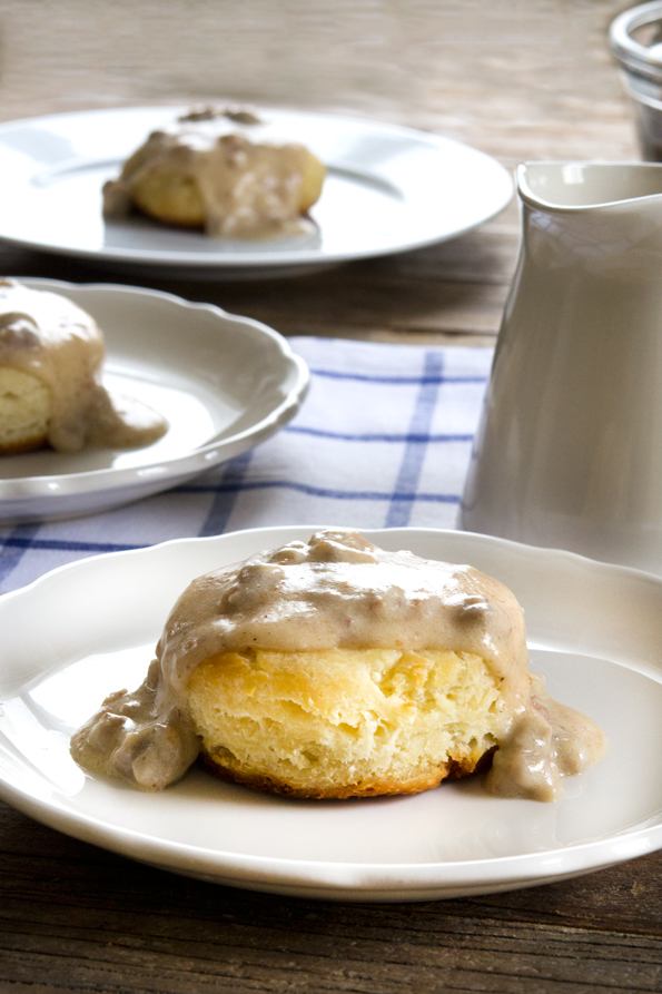 Light and flaky gluten free biscuits with rich sausage gravy. Ready in minutes, this hearty breakfast is a family favorite, and now you can have it back!