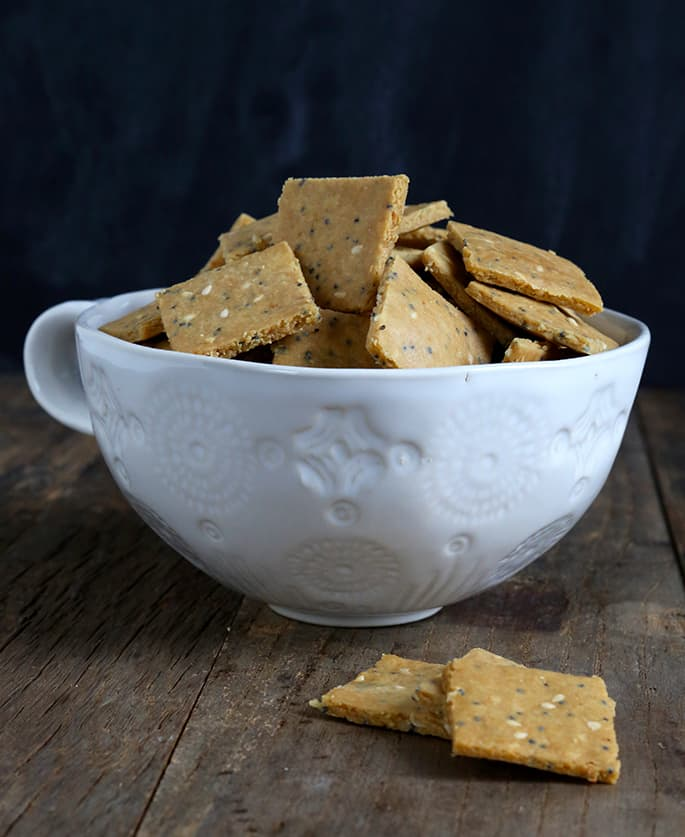 Paleo crackers, made with almond flourand a touch of tapioca flour, baked low and slow, makefor a truly crispy, crunchy cracker.