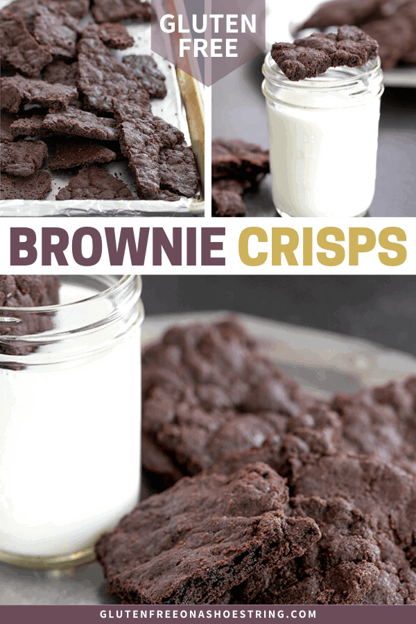 brownie crisps on a platter and on a baking tray