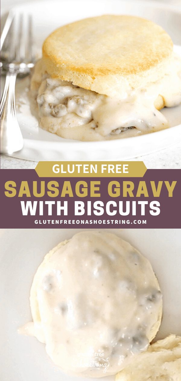 Open face sausage gravy on gluten free biscuit, and closeup image of it assembled