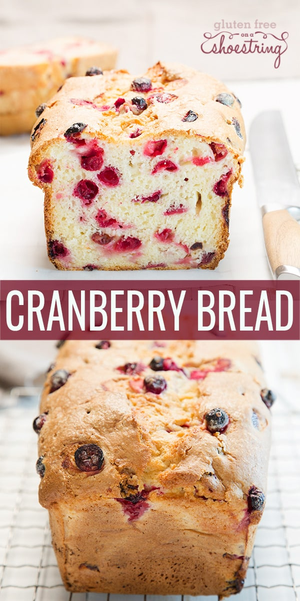 The inside and outside views of cranberry bread