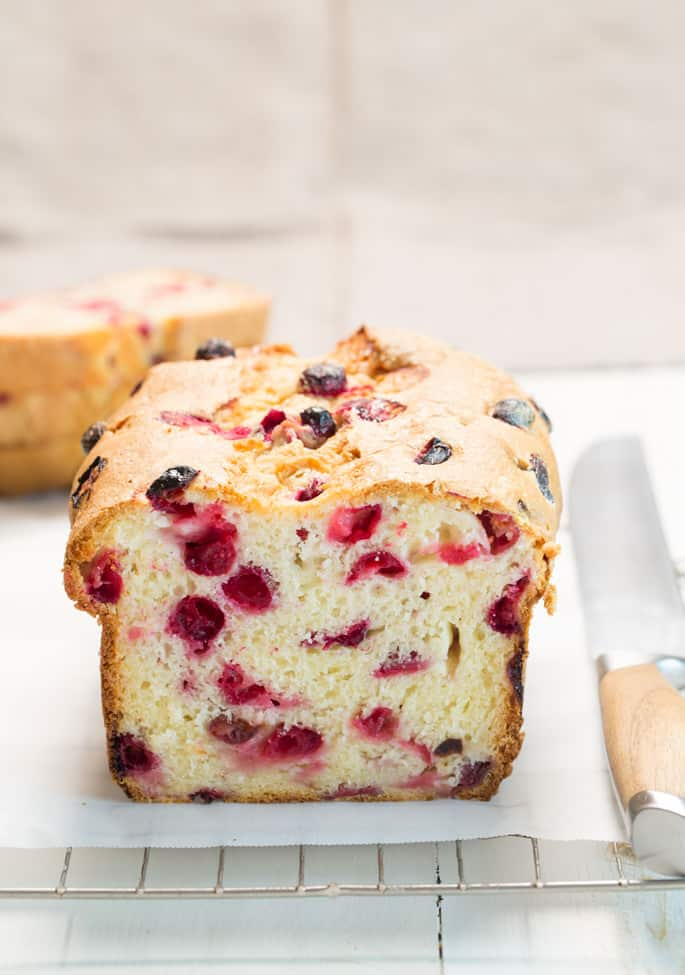 This gluten free cranberry bread is super moist, lightly sweet and only just a bit tart. It's the perfect quick bread for your holiday table.