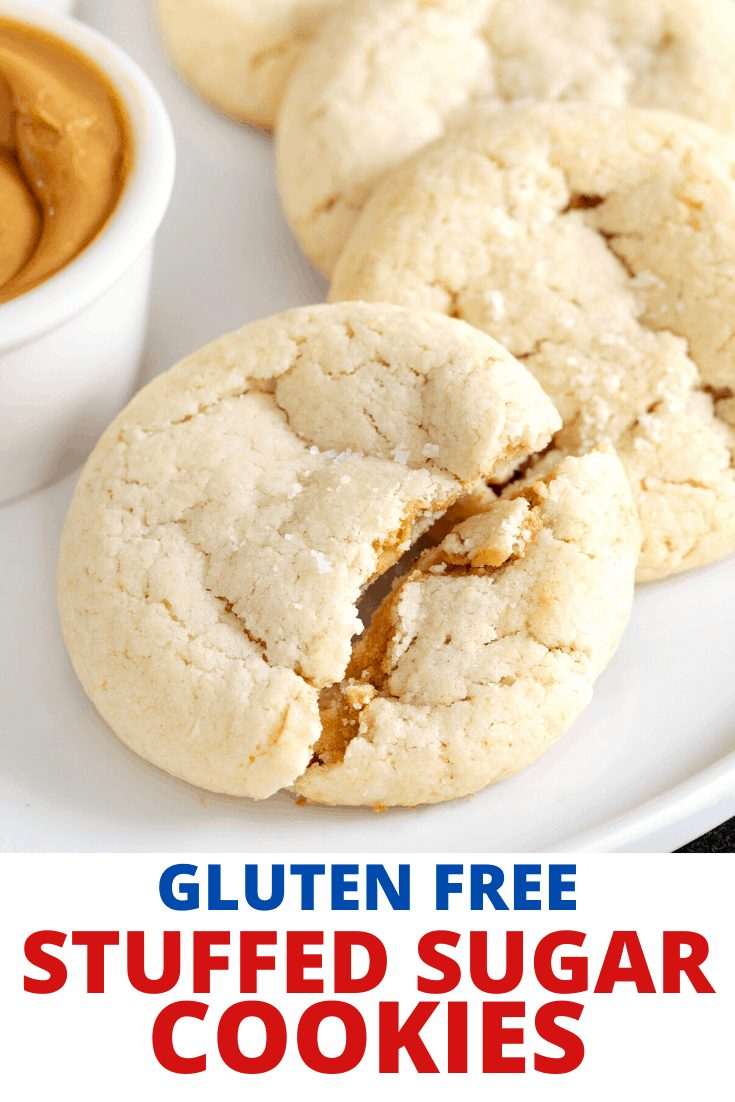 Fluffernutter Cookies on a plate with one broken and gluten free stuffed sugar cookies in writing