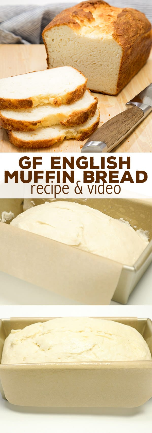 Light, tender and soft, with a soft crust, this gluten free English muffin bread is the easy white sandwich bread you've been searching for!