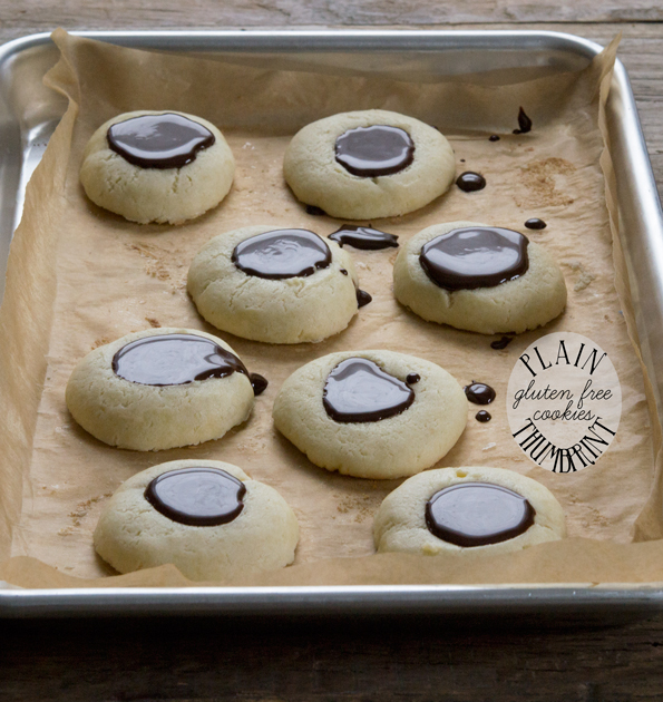 Plain Gluten Free Thumbprint Cookies with Chocolate Filling