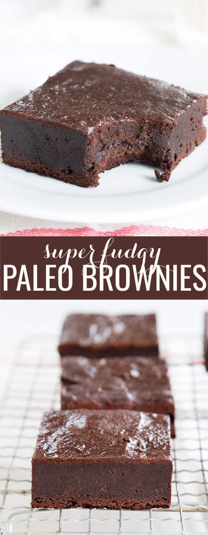 Brownie on white plate and brownies on metal tray below