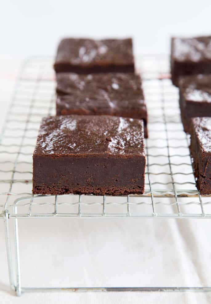 Metal tray with paleo brownies