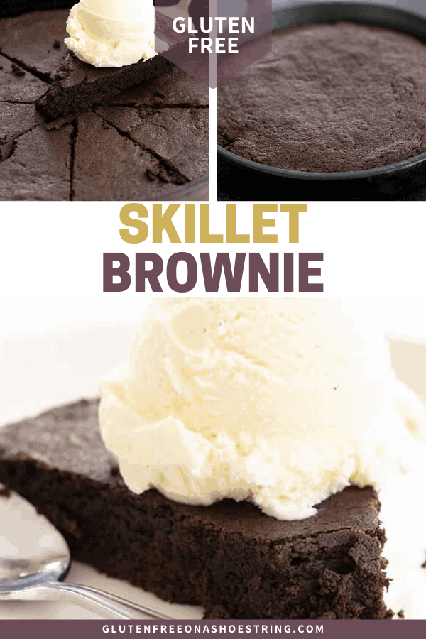 Baked unsliced, baked and sliced, and a slice of skillet brownie on a plate with a scoop of vanilla ice cream