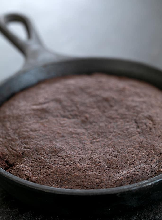 Skillet brownie baked in skillet