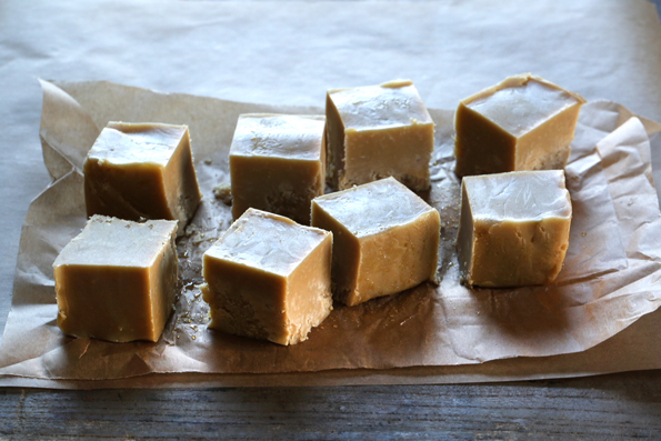 Fudge on wooden surface