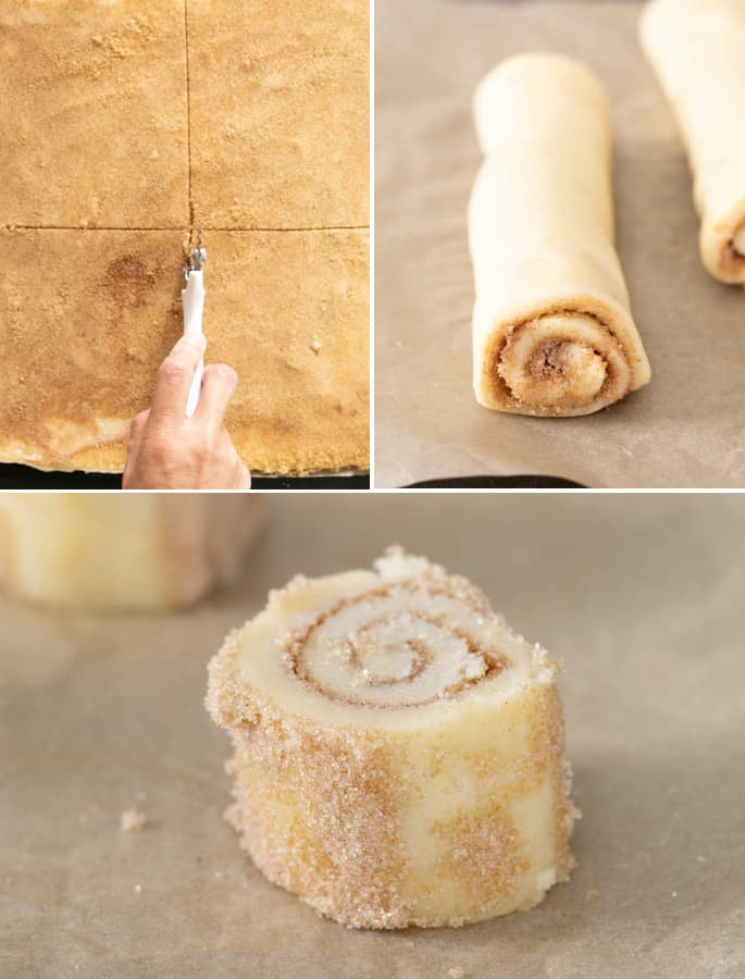 Cutting and rolling raw dough for cinnamon roll sugar cookies