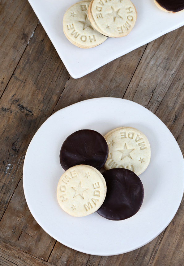 Overhead view of girl scout cookies on white plate