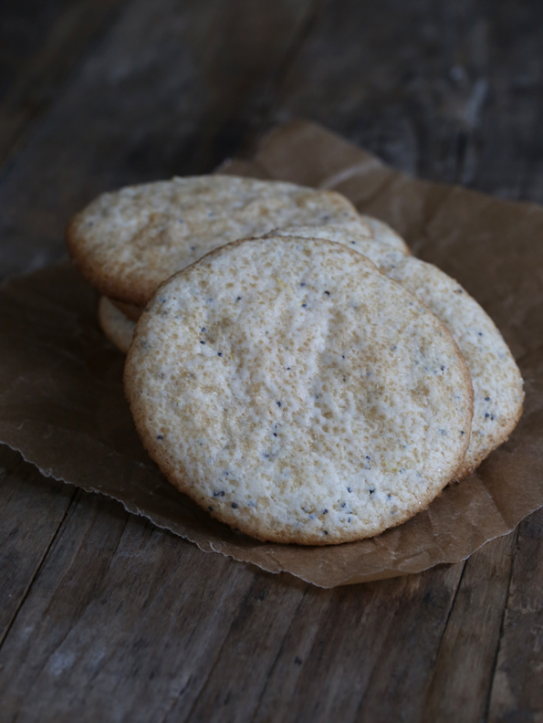 A close up of lemon poppyseed cookies on brown surface