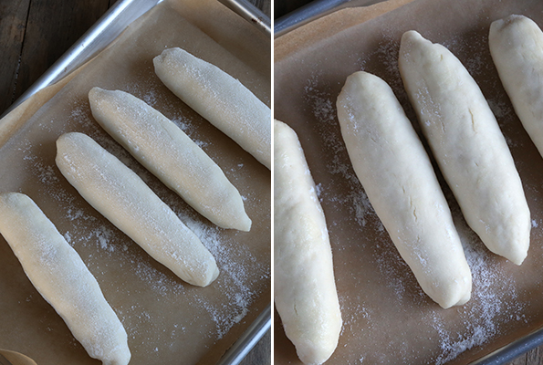 Overhead voet of breadstick dough