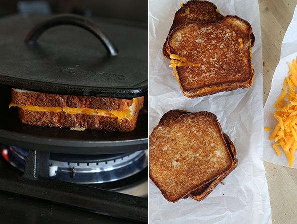 grilled cheese being made, and grilled cheese on white surface