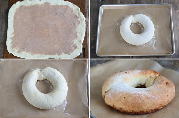 King cake being shaped