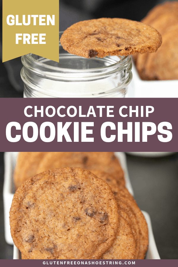 If you love crunchy cookies, these gluten free chocolate chip cookie chips are going to be a fast favorite. You can't eat just one! #chips #cookies #chocolatechipcookies #glutenfreerecipes