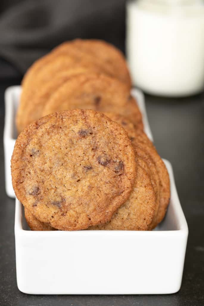 A close up gluten free cookie chips in a rectangular white dish