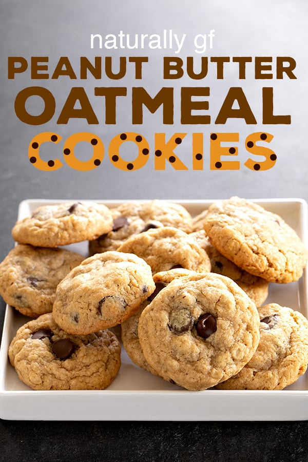 These naturally gluten free peanut butter oatmeal chocolate chip cookies are made with oats, oat flour and some cornstarch for the perfect chewy cookie. #glutenfree #gf #oatmealcookies #peanutbutter