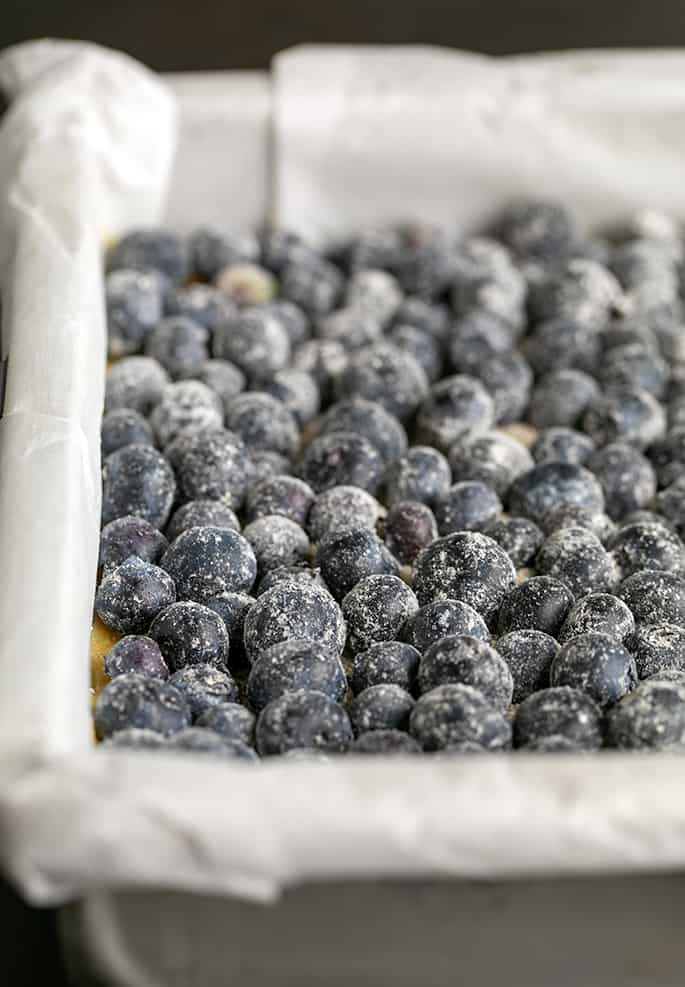 closeup of single layer of blueberries dusted in flour in a metal pan lined with paper