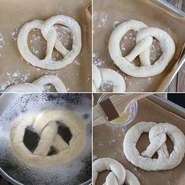 Raw and shaped gluten free soft pretzel dough unrisen, risen, boiling in water, and ready to be baked.
