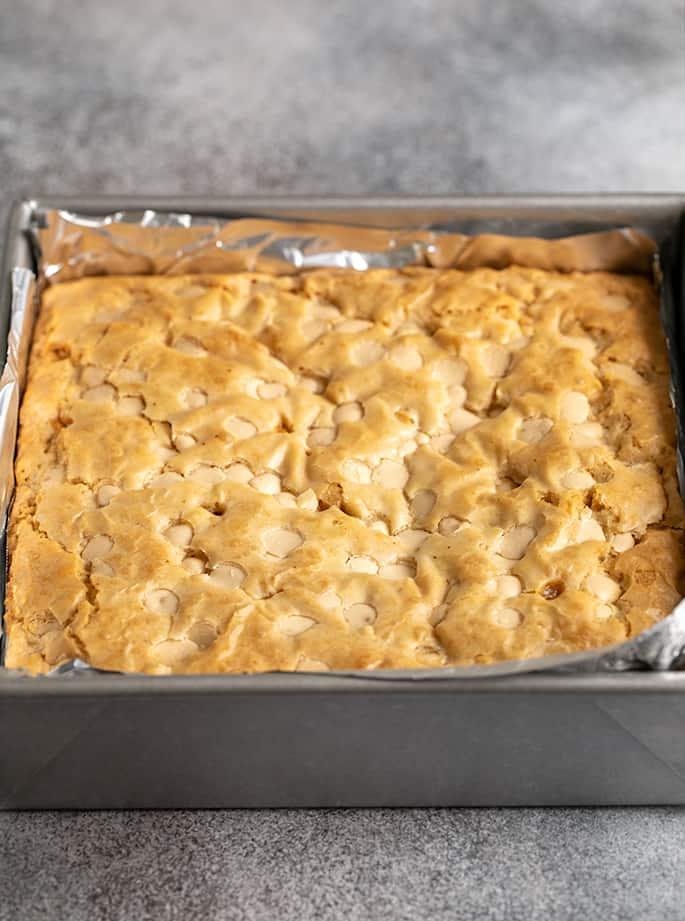 Square metal pan with baked uncut blondies