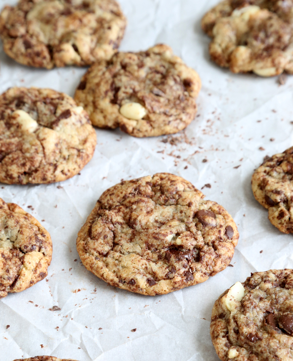 Chocolate chip cookies on white surface