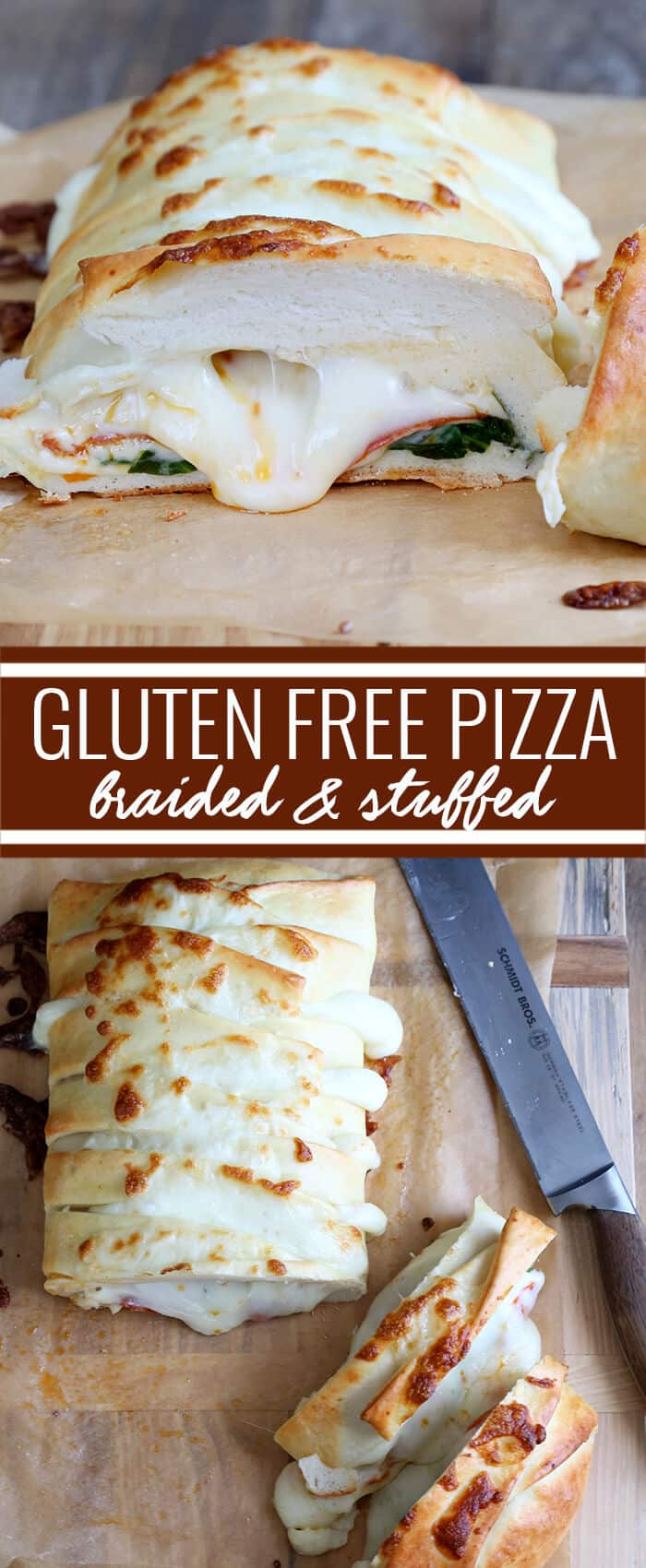The perfect gluten free pizza crust, stuffed full of spinach, pepperoni and, of course, plenty of cheese. This pizza dough handles so beautifully and tastes so authentic, you won't believe it's gluten free! https://glutenfreeonashoestring.com/braided-stuffed-gluten-free-pizza/