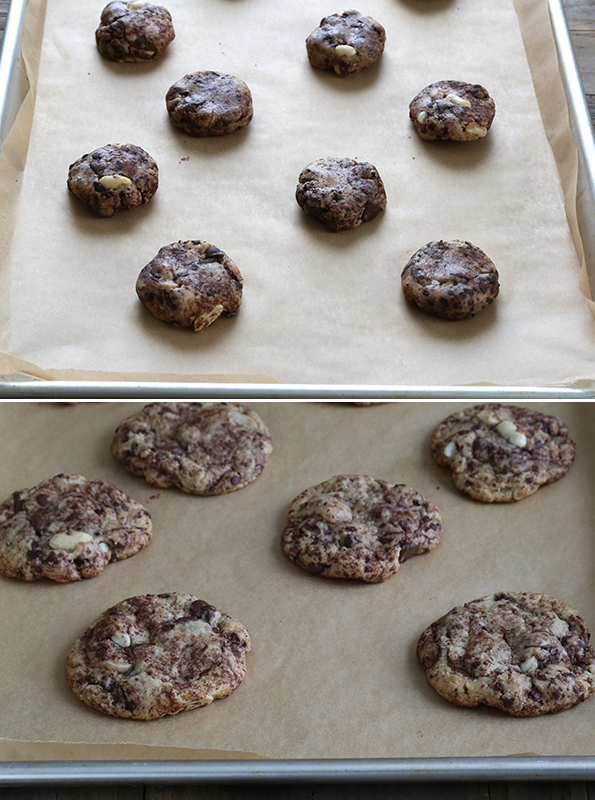 Chocolate chip cookie dough and chocolate chip cookies on brown surface