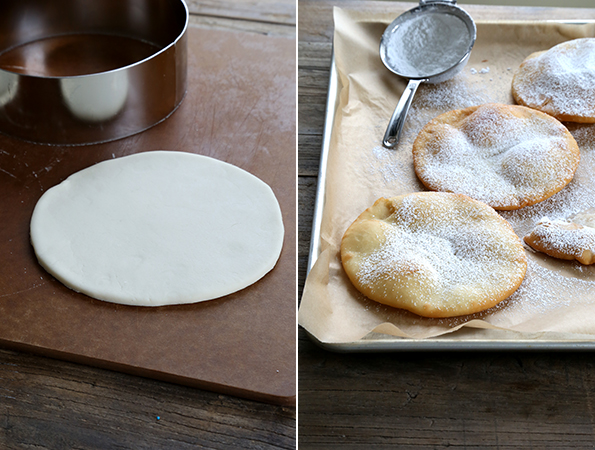 Fry bread dough and fry bread on brown surface