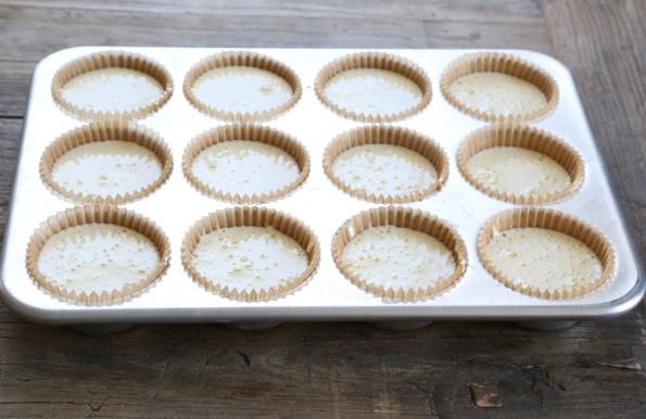 Tiramisu cupcake batter in metal tray