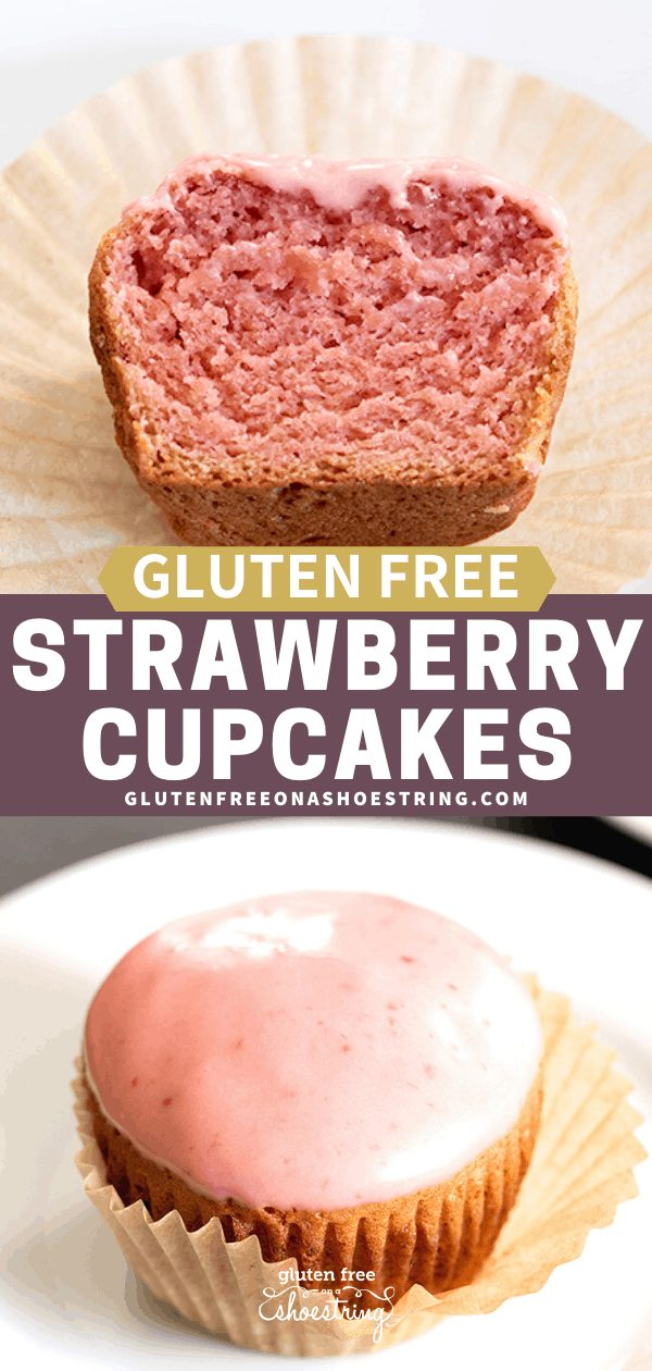 Gluten free strawberry cupcake whole on plate showing glaze, and cut in half on a plate