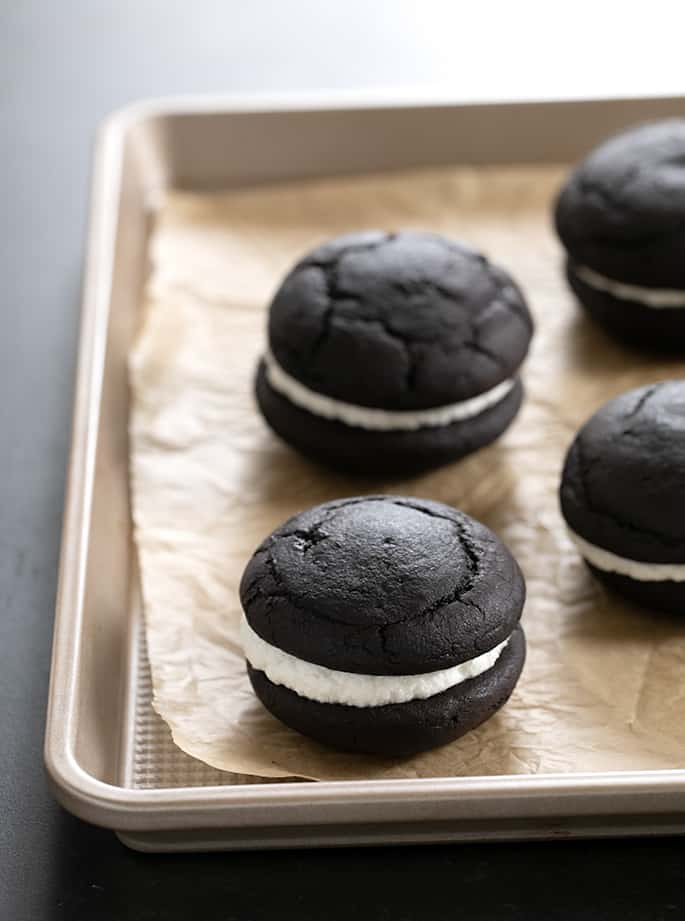 Oreo Cakesters on a metal tray
