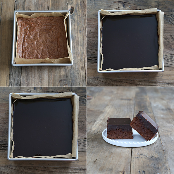 Chocolate brownies being frosted and 2 on a white plate