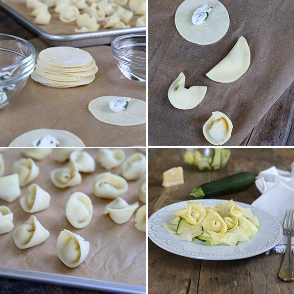 Overhead view of tortellini being shaped and on a white plate