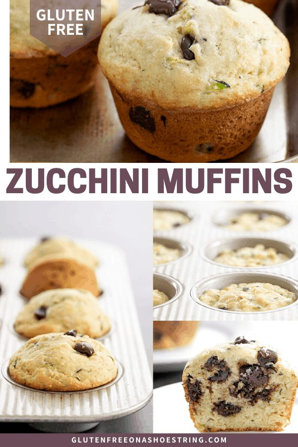 Zucchini muffins raw in a pan, baked in a pan, cut in half and whole on a tray