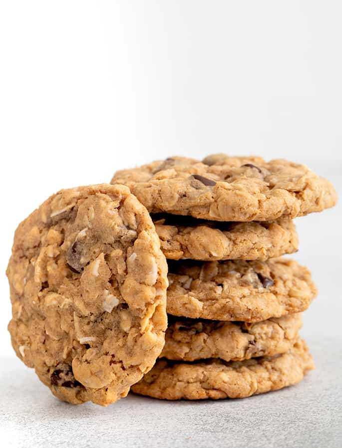 Stack of cowboy cookies with one on its side