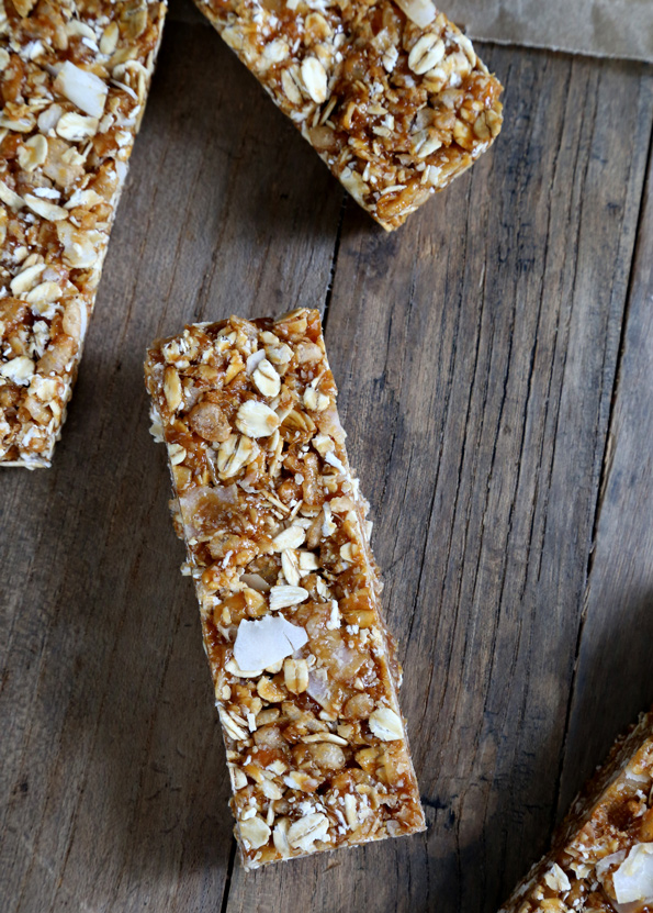 Highly portable, on-the-healthy-side no bake gluten free granola bars. Perfect for stashing away for snacking emergencies!
