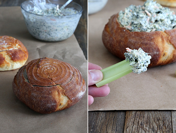 Bread bowl on left and close up of celery with spinach dip on right
