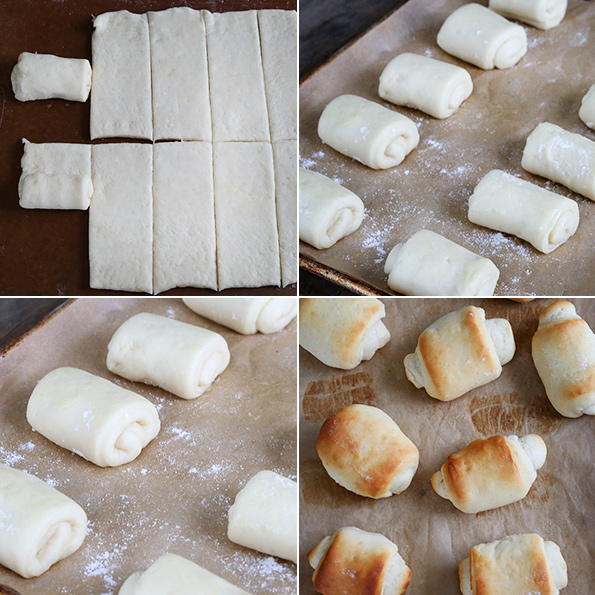 Dinner roll dough being shaped and dinner rolls on brown surface