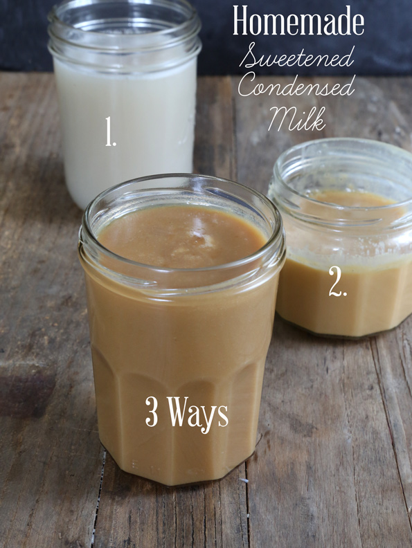 Homemade Sweetened Condensed Milk made with evaporated milk, whole milk or coconut milk. Make it at home and save!
