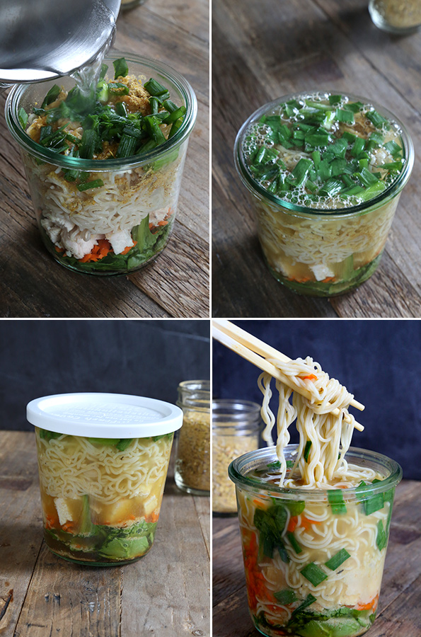 Images showing the steps to assembling a container of homemade gluten free ramen noodles.